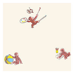 York Wallcoverings - Curious George Fun Wallpaper Roll - FEATURES: