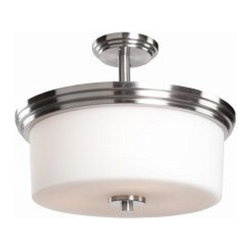 "ArtCraft - ArtCraft-AC4393PN-Russell Hill - Three Light Flush Mount - The ""Russell Hill"" series has beautiful flowing arms with clean opal white cylinder shape glassware. Electroplated in a rich Polished Nickel Finish."