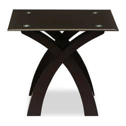 Bryght - Nicolas Brown Glass Light Cappuccino End Table - Eliciting an innovative and glamorous design, the Nicolas end table is a definite choice for the quality and style conscious. Inspired by ivory tusks, its well designed legs exude strength and stability.