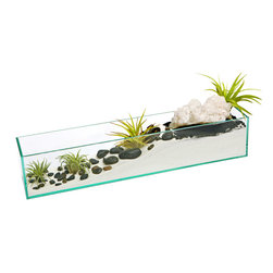 "luludi living frames - Luludi Living Frames Crystal Wave - Our crystal wave terrarium is a feng shui karma cleanser that will balance and revitalize the physical, mental, emotional and spiritual planes. Featuring a large crystal quartz cluster set atop a slope of white sand, the clusters of black river stones and air plants create a serene landscape inside a plate glass rectangular box, available as shown or may be custom-tailored:, dimensions: 4"" height x 4"" width x 20"" length, weight (approx): 2 lbs, our terrariums are unique landscapes so finished pieces may vary, Suggestion for care:, no direct sun required, mist once per week remove air plant first, mist and allow to dry before replacing in terrarium, upon receipt soak air plant in bowl of water for 30 minutes, allow to dry then place plant in terrarium, ourline of feng shui terrariums bring a myriad of good chi into your life:, crystal quartz cluster, crystal quartz also known as rock crystal is a power stone that harmonizes and balances, crystal quartz will amplify energy and thought, as well as the effect of other crystals and purify their energy, crystal balances and revitalizes the physical, mental, emotional and spiritual planes it assists with clearer thinking, helps one to know oneself, brings clarity to communication and protects the aura, black polished stones, use of color to strengthen and balance your environment is a key aspect of good feng shui, black (yin) is the feng shui color of emotional protection and power, symbolizing money and income great for careers, black also helps you to focus your intention and enhance the positive energy for specific areas of your life such as love and relationships, children and creativity, helpful people and travel, career and journey, health and center"