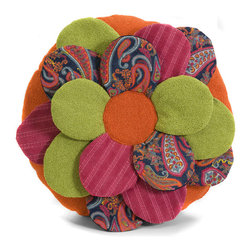 Multicolor Petal Multi-Fabric Flower Throw Pillow - *Brightly colored, Flower shaped pillow, multi-fabric, Exclusive design.