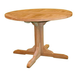 Jewels of Java - Claptise Dining Table in Teak - Mortise and tenon construction. Plantation grown teak. Warranty: Three years. Made from solid teak. 30 in. Dia. x 30 in. HJewels of java's teak Claptise table has collapsing leaves for ease of storage. This elegant yet rugged dining table is perfect for small dining spaces. Beautiful and versatile, use our Claptise Dining Table with our teak folding chairs to give you a casually elegant dining experience.