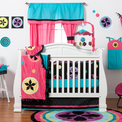 """Magical Michayla - Infant Set (4pc) - Let the """"Magic"""" of """"Magical Michayla"""" come to life in a room filled with color!  Bold black surrounded by Kaleidoscope like patterns showcased in hues of pink, blue, green, yellow, purple and orange make this collection perfect for all personalities.  This 4pc set includes:  4pc bumper, crib bed skirt, crib sheet, and a coordinating medium quilt.  4pc bumper is a combination of """"One Grace Place"""" designer cotton print fabric and soft minky fabric.  Bumper is full of detail with welting in our signature turquoise blue and gorgeous ruffle trim in pink.  Bed skirt showcases """"Magical Michayla"""" magic rows cotton print fabric trimmed in pink, black and turquoise fabric creating a simplistic detail to final touches on this collection.  Crib sheet accents the """"Magical Michayla"""" designer print fabrics in our solid turquoise blue.  Offered in cotton fabric.  Magical Michayla coordinating quilt is like no other.  Soft minky on both sides make this the perfect blanket anytime and anywhere!  Pink on one side with detailed appliqu�s in Kaleidoscope patterns with turquoise blue on the opposite side.  Quilt is trimmed in black satin to make this the softest of quilts.  SAVE WHEN YOU BUY AS A SET!"""