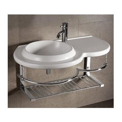Whitehaus - Isabella Large Wall Mount Sink - Includes chrome shelf, towel bar and mounting hardware. Faucet not included. Integrated round bowl. Centre drain. Single hole faucet drilling on left side. Made from porcelain. White color. Inside: 15.38 in. W x 15 in. D x 5 in. H. Overall: 36 in. W x 20.88 in. D x 5.88 in. H (60 lbs.). Warranty