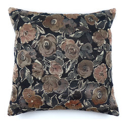 KOVI Home Decor - Santiago Pillow Cover Dark, Dark - The Santiago Pillow Cover in Dark color is handcrafted from a Cotton/Poly blend in commercial grade high quality fabric. This delightful floral pattern can add a touch of femininity in any area and is finished with straight edges for a modern look. This pillow cover is handmade with a concealed zipper for easy removal and cleaning. The pattern is woven into the fabric; therefore the pillow cover will retain the color and is much more durable than a printed pattern.