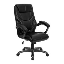 Flash Furniture - Flash Furniture Office Chairs Leather Executive Swivels X-GG-AEL-KB-H427-OG - Whether you're looking for an office chair that is functional, or one that is comfortable, or a chair that just looks great, this Black Leather Executive Office Chair from Flash Furniture will complete all needs. Consisting of a well-padded seat and back along with a standard spring tilt mechanism, padded loop arms and black leather upholstery, this leather office chair will be a fine addition to any office setting. [GO-724H-BK-LEA-GG]