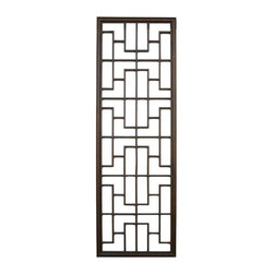 Golden Lotus - Long Geometric Rectangular Wood Panel - This is a simple wood panel / divider with rectangular geometric pattern.