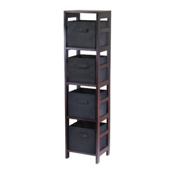 Winsome Wood - Capri N-Storage Shelf with 4 Fabric Baskets, Black - Our Capri N-Storage Shelf comes with 4 foldable black fabric baskets. Warm Walnut finish storage shelf is perfect for any room in your home. Use it alone as bookcase/shelf or with baskets for a complete storage function.