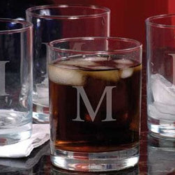 Home Decorators Collection - Monogram Double Old Fashioned Glasses - Set of 4 - These tumblers will enhance the look of your barware and impress your guests with their classy, sophisticated style. Perfect for everything from mixed drinks, your favorite drink on ice and even soft drinks, you can also add a personalized touch with a single script initial delicately engraved into the glass of each. Complete your barware today; order yours now. Hand-blown glass may contain small bubbles. Makes a thoughtful gift for the holidays, a wedding or even a house-warming.