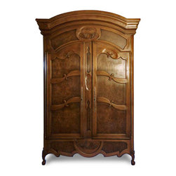 "French Armoire - Traditional French Armoire, with intricate hand carving and carpenthian elm burl paneling.  This is a custom piece 9' overall height 58"" wide. The inside has wonderful array of dovetailed drawers jewelry boxes and hidden compartments in the lower half. The upper section has a retractable flat screen tv with shelving."