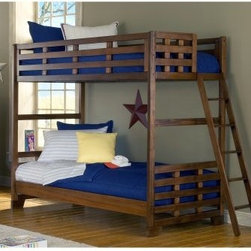 Heartland Twin over Twin Bunk Bed - The Heartland Twin over Twin Student Bunk Bed is a beautiful piece of bedroom furniture that your children will love having. This bunk bed is made with sengon tekik solids and veneers with an easy to maintain finish. The bunk ladder has five mahogany steps for safety and durability. The bookcase features three drawers one door with a stationary shelf and four open stationary shelves. Some assembly required. We take your family's safety seriously. That's why all of our bunk beds come with a bunkie board slat pack or metal grid support system. These provide complete mattress support and secure the mattress within the bunk bed frame. Please note: Bunk beds and loft beds are only to be used by children 6 years of age or older. About American WoodcraftersFor unparalleled quality and value choose American Woodcrafters for your youth or master bedroom furniture. Founded in 1996 as a division of Rockford Capital Corporation and located in High Point N.C. American Woodcrafters is the brainchild of John N. Foster. His 40 years of experience in manufacturing marketing and product development inspire the company to deliver superior furniture designs of exceptional value. Each exquisite furniture piece is well-made and creatively styled with a fine quality finish and innovative features to make your home more beautiful and functional.
