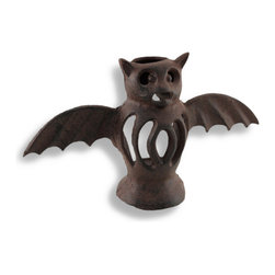 Zeckos - Cast Iron Bat Tea Light Candle Lamp Rust Patina - This cast iron bat tea light candle holder adds a festive accent to your home, porch, or patio for Halloween. It measures 5 3/4 inches tall, 10 1/4 inches wide, 3 inches deep and it has a lovely rust patina for an antique look. Use battery operated tea light candles for worry-free, kid-friendly accent lighting (not included). This piece makes a cute gift that is sure to be admired.