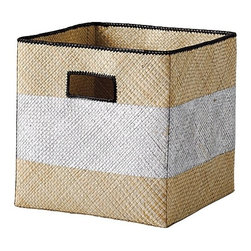 Serena & Lily - Pandan Bin, Metallic Stripe - Let this woven bin featuring a fun metallic stripe keep all your clutter hidden away.