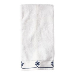 Serena & Lily - Navy Gobi Hand Towel - We believe a bath towel should be one of life's little luxuries. Woven in Portugal from supremely soft cotton, they're lofty, absorbent and quick to dry. The embroidered motif was borrowed from our best-selling sheets, adding the perfect color pop to classic white bath and hand towels. Best of all  they won't fade, fray or wear out.