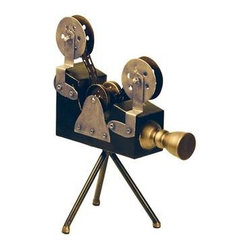 Sterling Lighting - Sterling Olivier Camera Display - Reminiscent Of Old Hollywood, This Sterling Vintage Movie Reel Olivier Camera Display Features Black And Antiqued Brass Finishes In Metal Materials. For The Movie Fan, This Makes A Great Accessory Piece On Any Home Shelf Display. Item Measures 15.5 Inches Tall And 11.75 Inches Long X 7 Inches Wide.