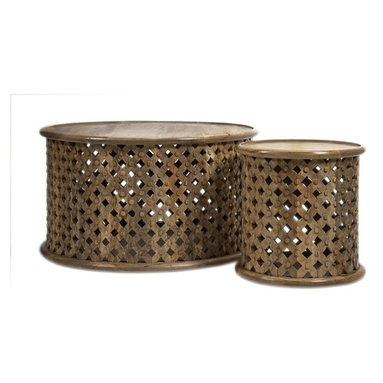"""IMAX CORPORATION - Abdalla Carved Wooden Tables - Set of 2 - Abdalla Carved Wooden Tables. Set of 2 in various sizes measuring around 19""""H x 32""""W x 32"""" each. Shop home furnishings, decor, and accessories from Posh Urban Furnishings. Beautiful, stylish furniture and decor that will brighten your home instantly. Shop modern, traditional, vintage, and world designs."""