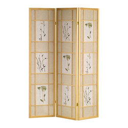 Ore International - Botanicals Shoji Screen - R5442 - Shop for Room Dividers from Hayneedle.com! The Asian-inspired Botanicals Shoji Screen Room Divider beautifully defines a space. This screen features a wood frame and comes in either natural or cherry finish. It is available with either three or four rice paper panels with detailed botanicals. Folds flat for easy storage!About Ore International Inc.Ore International Inc. creates beautiful accent furniture lighting and gifts for the home. Their goal is to be the leading provider of innovative superior home products worldwide. Ore International is based in Santa Fe Springs California and has a Customer First attitude. Their products are designed to match modern and classic tastes and fit today's homes. From room dividers to lamps end tables to entertainment centers you'll discover quality craftsmanship at a fair price in all Ore International products.