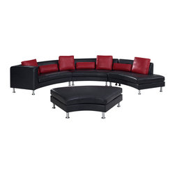 Global Furniture - Global Furniture USA 919 3-Piece Leather Sectional Sofa in Black - Upholstered in Black Bonded leather and leather match with red pillows this comfortable sectional will provide plenty of room for you and all your guests.
