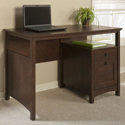 My Space by Bush - Buena Vista Desk with File Drawer - One box drawer with a divider. Open shelf underneath desktop. Warranty: 1 year. Made from sturdy woods and laminates. Madison cherry finish. Assembly required. 47.17 in. W x 22.44 in. D x 30.12 in. H (77 lbs.)Perfect for your work and play space, the Buena Vista Desk offers ample workspace to get work done while matching your Buena Vista room suite. The desk features an open shelf under the desktop that's perfect for storing your laptop, plus a file drawer for letter sized files. One box drawer is designed for office and desk supplies, while the large, open work surface makes it easy to stay organized.. Spacious work surface with plenty of room to spread out and get things done. An attractive, casual design and plenty of open and closed storage make Buena Vista a smart choice for home entertainment.