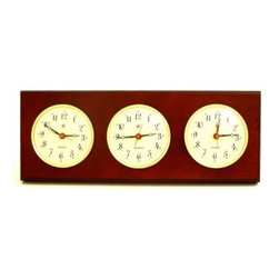 Bey-Berk International Brass Multizone Clock on Mahogany with 3 Brass Plates - T - Become a global citizen with the Bey-Berk International Brass Multizone Clock on Mahogany with 3 Brass Plates T.P.. Synchronize your work hours with those of far-off locations, with these three timepieces, framed in brass and mounted upon a dark mahogany base. Features battery-operated, analog quartz movement.About Bey-Berk InternationalThis quality item is created by Bey-Berk. For more than 20 years, Bey-Berk International has crafted and hand-selected unique gifts and accessories from around the world to meet the demands of discerning customers. With its line of elegant and distinctive products, Bey-Berk has established itself as a leader in luxury accessories.