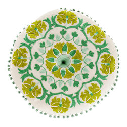 Round Geo Floral Pillow - Emerald, Moss and Seafoam - Spring and summer hues are appropriate for all year when they're as richly realized and exquisitely crafted as the suzani-style embroidery of the Round Geo Floral Pillow. A lovely palette of intense leaf greens, warm lime hues, and more delicate seafoam details is continued over the white linen cover and finishes with a playfully sumptuous ball fringe.