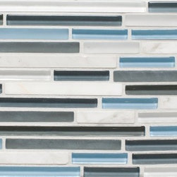 Mission Stone Tile - Serenity Glass Mosaic Strips - Harmony - Mix Glass and Stone - Serenity Glass Mosaic Strips | Harmony