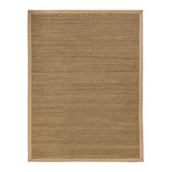 "Anji Seagrass Sabertooth Rug with Khaki Border - 9' x 12' - Sleek yet earthy, this seagrass rug will bring natural elegance to your home. Seagrass is an abundant marine grass with thick, flat and smooth fibers. It exhibits a splendid range of natural color ranging from green to brown, and is never dyed. Its fibers are extraordinarily durable making this rug a perfect fit for high traffic areas.  Available sizes: 3'x5', 4'x6', 2'-6""x8', 5'x8', 8'x10, 9'x12', 10'x14'."
