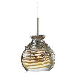 LBL Lighting - LBL Lighting Gelato Clear Monopoint 1 Light Track Pendant - LBL Lighting Gelato Clear Monopoint 1 Light Track PendantStripes of iris adorn this charming pendant featuring a mouth-blown sphere of translucent Clear glass. This unique fixture will add beauty to any home or business.Each Monopoint lighting fixture includes a single-point canopy with built-in transformer right out of the box for a quick and easy installation.LBL Lighting Gelato Clear Monopoint Features: