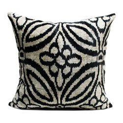 Metrohouse Designs - Large Silk Velvet Ikat Accent Pillow - Silk Velvet Accent Pillow