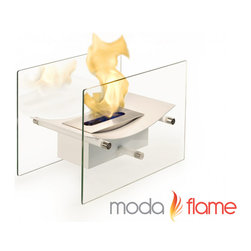 Moda Flame - Moda Flame Cavo Table Top Ventless Bio Ethanol Fireplace in White - Elevate the heart and uplift the mind with a liberated Cavo ventless bio ethanol fireplace. The modern arched fireplace with two glass supports gives perception of floating fire. Its sophisticated yet elegant, with all the benefits of a bio ethanol fireplace has to offer. Perfect present for anyone as it is ventless, clean burning and no installation required. The Cavo ventless fireplace is light weight and can be used outdoors and indoor.
