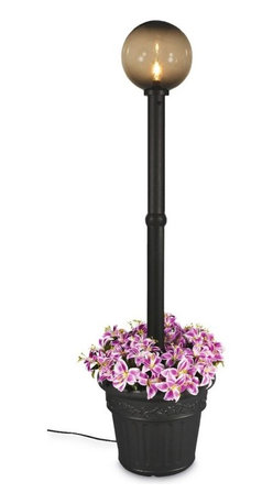 """PLC - Milano Black with Bronze Globe Lantern Planter - Design inspired in the Italian Renaissance.  This electric waterproof lantern planter features 12"""" acrylic bronze globe, black resin construction and cast iron colored resin planter base. Two level dimming switch and 10 ft. weatherproof cord and plug. 1-100 watt bulb maximum. Dimensions: 82"""" tall x 21"""" diam. planter base"""