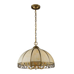 ELK Lighting - ELK Lighting 72051-5 Gerard 5 Light Chandeliers in Solid Brushed Brass - This solid brushed brass pendant features slumped cream tiffany panels with mini glass accents set within a vine motif.