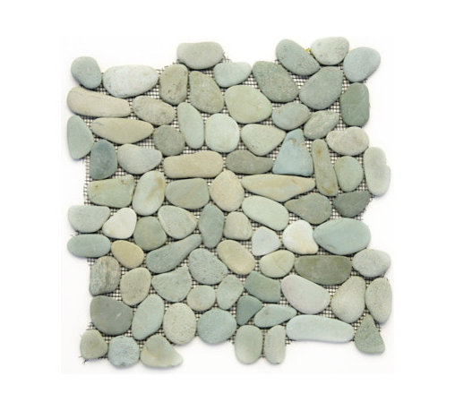 Glass Tile Oasis - Turquoise Pebbles and Stones Green River Rock Borders Tumbled Natural Stone - During manufacturing, the pebbles are hand sorted into like colors and sizes and individually glued onto mesh backing. As a result, product will vary in size, shape and color. Colors represented online may not show full range of variation. It is not unusual to find occasional imperfections, veins and lines of separation within the pebbles. This variation is considered to be a desired feature in the product.