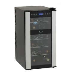 Avanti - 18 Bottle Wine Cooler - 18-Bottle Dual-Zone Thermoelectric Wine Cooler with glass door and integrated soft-touch digital display.
