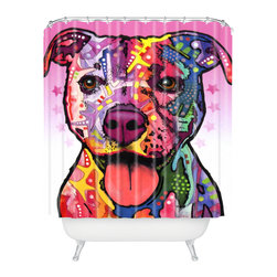 DENY Designs - Dean Russo Cherish The Pitbull Shower Curtain - Who says bathrooms can't be fun? To get the most bang for your buck, start with an artistic, inventive shower curtain. We've got endless options that will really make your bathroom pop. Heck, your guests may start spending a little extra time in there because of it!