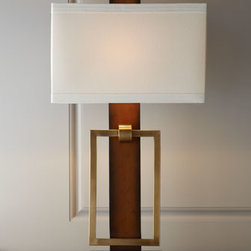 "John-Richard Collection - John-Richard Collection ""Linear Illumination"" Lamp - We love the symmetry this smart and stylish mid-century modern lamp brings to the room with its variety of rectangular shapes. From the John-Richard Collection. Handcrafted of wood and brass. Walnut finish on wood. Linen shade. Three-way switch on...."