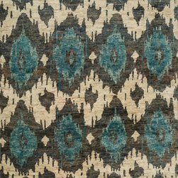 "Loloi Rugs - Loloi Rugs Xavier Collection - Midnight, 9'-6"" x 13'-6"" - The sumptuous Xavier Collection is distinguished by its plush feel and bright, bold color palette. Hand knotted with 100% jute from India, Xavier's large scale Ikat design offers sophistication that works as an incredible centerpiece for a variety of room settings."