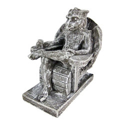 Zeckos - Beach Bum Gargoyle Concrete Statue Vacation Chill - This cool solid concrete statue combines the present and past, featuring a winged gargoyle in boardshorts, chilling out in an Adirondack chair, a frosty beverage in one hand. The statue measures 7 1/2 inches tall, 5 3/4 inches wide and 8 1/2 inches deep. Since It's made of concrete, it can be used indoors or outdoors, and looks great in garden, patios, garden, even bedrooms. It's great for anyone with a slightly bent sense of humor.