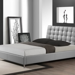 Baxton Studio - Baxton Studio Zeller Gray Modern Bed with Upholstered Headboard - Queen Size - Restful sleep and style packed into one sleek package: our Zeller Designer Bed brings the best of both worlds. Attractive soft matte gray faux leather upholsters this queen-sized platform bed, which includes wooden slats, thereby eliminating the need for a box spring. Malaysian-made with an engineered wood frame, the Zeller Contemporary Bed also features foam padding, a button-tufted headboard, and chrome-plated steel legs at the end of the bed. Maintenance is effortless: just wipe the bed's surfaces with a damp cloth before wiping dry. The Zeller Bed is also available in white and black (each sold separately). Assembly is required. 38.66 inches high x 65.75 inches wide x 83 inches long
