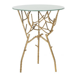 Safavieh - Tara Accent Table - Gold/White Glass Top - Crafted for a new generation of sophisticates, the Dermot Accent Table balances a contemporary glass top with classic Chinoiserie faux bamboo in silver-leafed forged iron for a dramatic moment of modern magic.