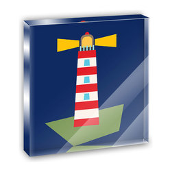 """Made on Terra - Spiffy Lighthouse Mini Desk Plaque and Paperweight - You glance over at your miniature acrylic plaque and your spirits are instantly lifted. It's just too cute! From it's petite size to the unique design, it's the perfect punctuation for your shelf or desk, depending on where you want to place it at that moment. At this moment, it's standing up on its own, but you know it also looks great flat on a desk as a paper weight. Choose from Made on Terra's many wonderful acrylic decorations. Measures approximately 4"""" width x 4"""" in length x 1/2"""" in depth. Made of acrylic. Artwork is printed on the back for a cool effect. Self-standing."""