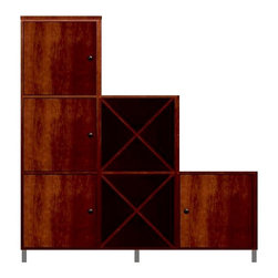 Howard Miller Custom - Zoe Cabinet w 2 Cross Shelves in Newport Cherry - This cabinet is finished in Newport Cherry on select Hardwoods and Veneers, with Antique Bronze hardware. 4 flat panel doors. 2 cross storage shelves. 3 adjustable interior shelves and 1 stemware rack. Flat profile top and metal leg base. Hardware: knobs on doors. Features soft-close doors and metal shelf clips. Simple assembly required. 70 1/4 in. W x 15 3/4 in. D x 76 3/4 in. H