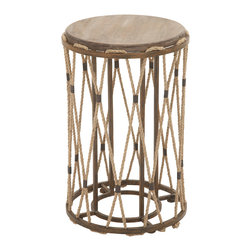 Unique and Classy Wood Metal Rope Side Table - Description:
