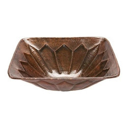 "Premier-Copper-Products - Square 16"" Feathered Vessel Copper Sink - VS16FDB Premier Copper Products Square 16-Inch Feathered Vessel Hammered Copper Sink"