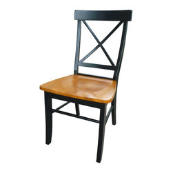 International Concepts - International Concepts X-Back Dining Chair in Black/Cherry (set of 2) - International Concepts - Dining Chairs - C57613P -
