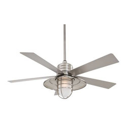 Minka Aire - Minka Aire Rainman Ceiling Fan in Brushed Nickel Wet - Minka Aire Rainman Model F582-BNW in Brushed Nickel Wet with All Weather Silver Finished Blades. Integrated Light Fixture for Model F582-BNW w/Acid Etched Glass.