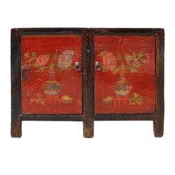 Golden Lotus - Mongolian Red Lacquer Vases & Flowers Pattern Side Table Cabinet - This is an elegant Mongolian style red lacquer vases and flowers pattern side table. It is made of solid elm wood and has a movable shelf for various storage purposes. Nice eye catching piece to decorate your room.
