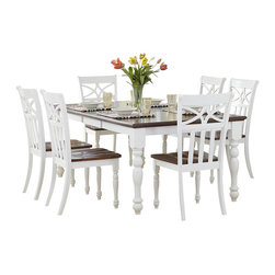 Homelegance - Homelegance Sanibel 7-Piece Dining Room Set in White and Warm Cherry - As breezy as a day at the beach, the modern cottage styling of the Sanibel collection will meld effortlessly with your casual personal style. The versatility of the design lends to the perfect placement in your casual dining room. The collection is offered in black or white _ each featuring a warm cherry finished tabletop and chair seats.