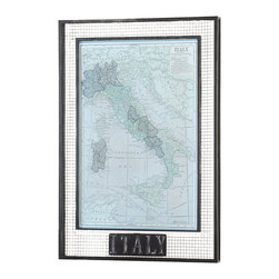 Grace Feyock - Grace Feyock Italy Map Framed Wall Art X-12055 - This oil reproduction features a sand texture finish. Metal frame has and open grid pattern with a taupe basecoat and heavily distressed, black topcoat.