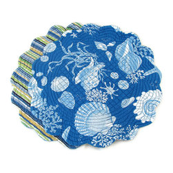 """CF Enterprises - Blue Shells Round Reversible Placemat - Dark sea blue with white seashells, this round placemat measure 17"""" in diameter and has scalloped edges. The revers is a blue green and yellow stripe. 100% Cotton and washable. Dry flat or tumble dry on very low."""